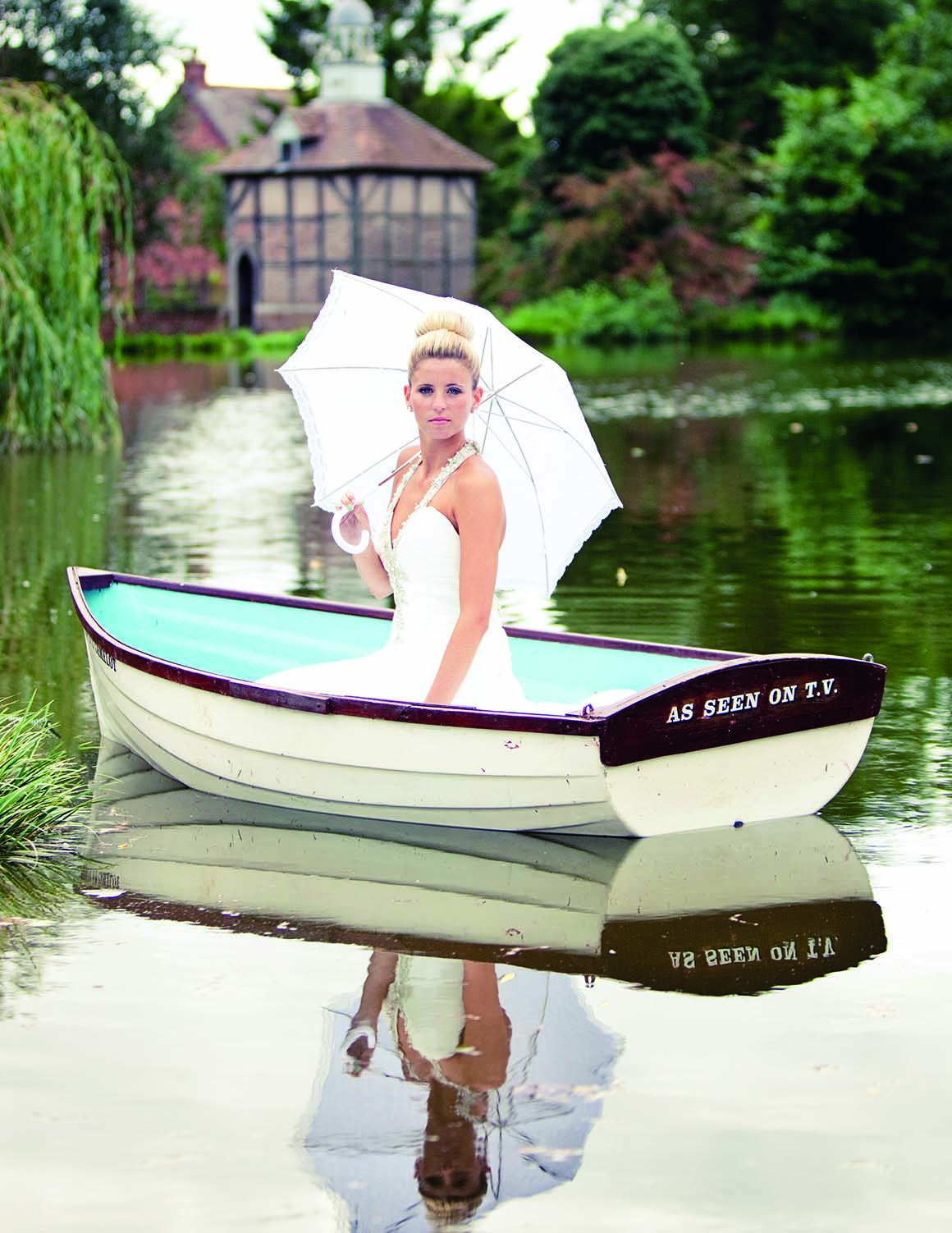 Brockencote Hall Hotel photo gallery bride on lake