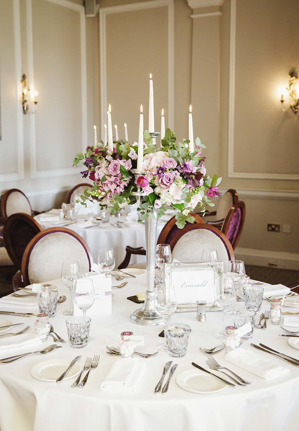 Brockencote Hall Hotel wedding table set up