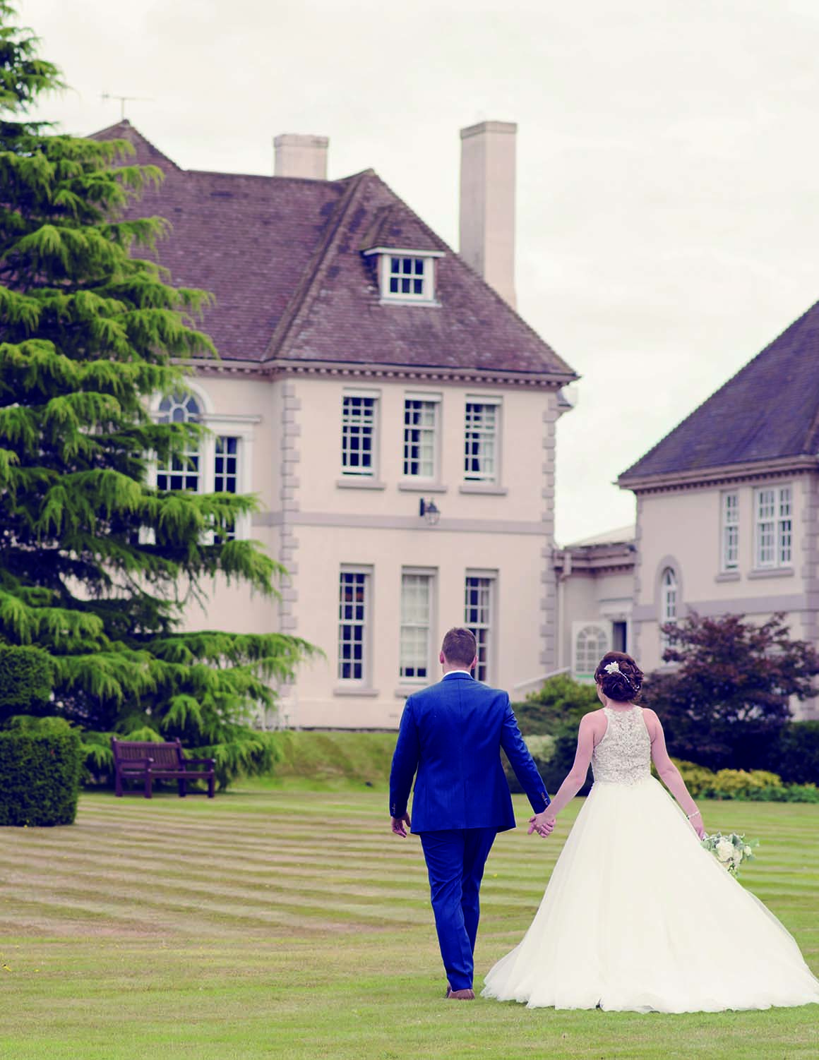Brockencote Hall Hotel Wedding prices bride and groom in gardens