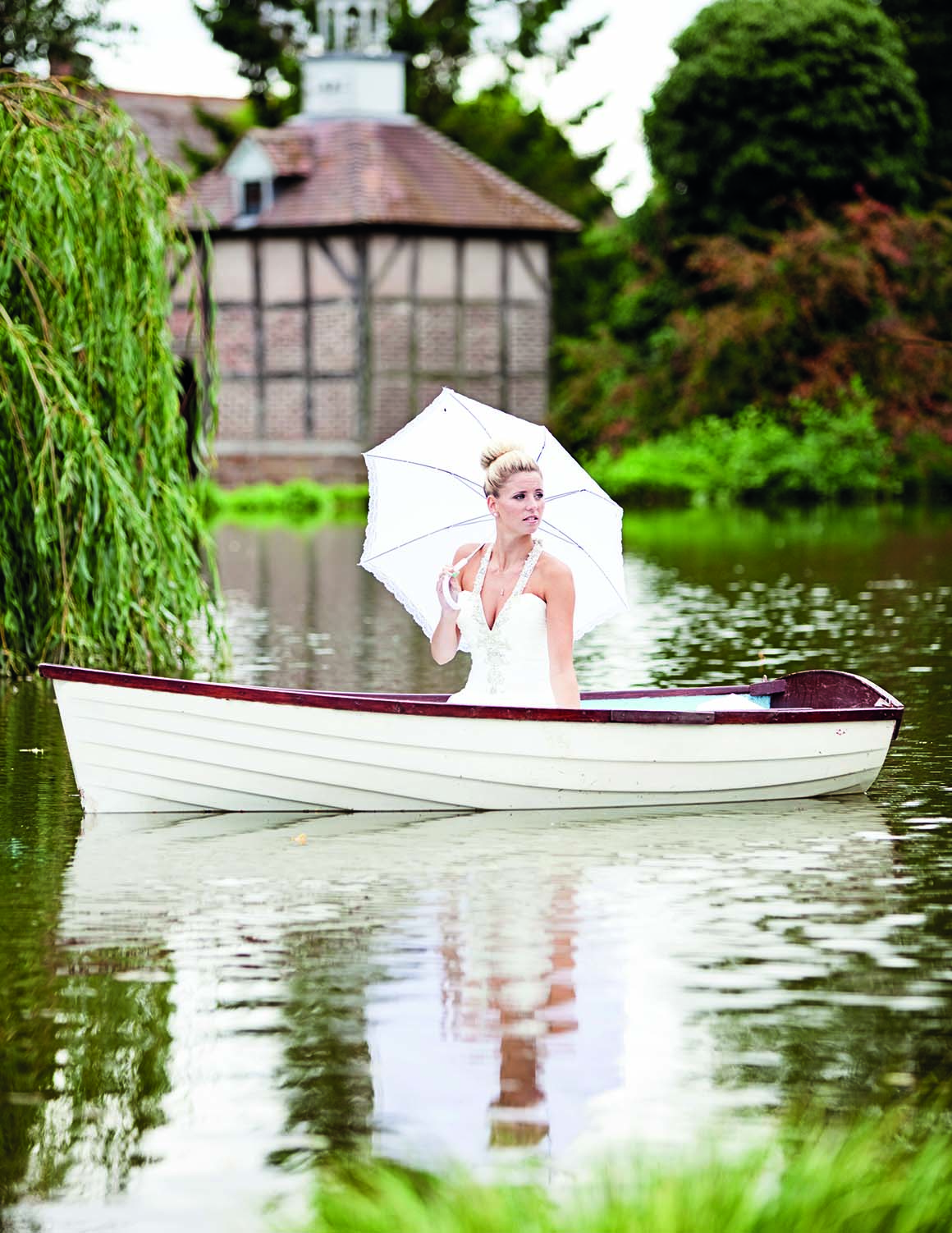 Brockencote Hall Hotel Wedding prices bride on lake