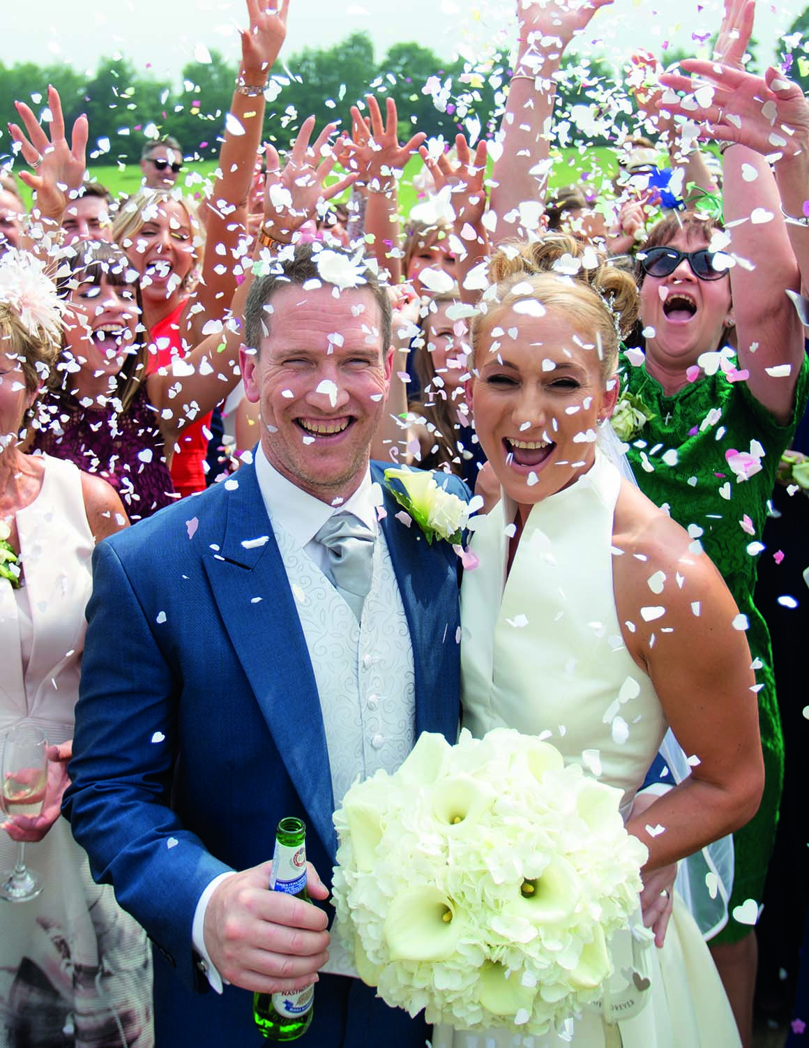 Brockencote Hall Hotel Wedding prices bride and groom with confetti