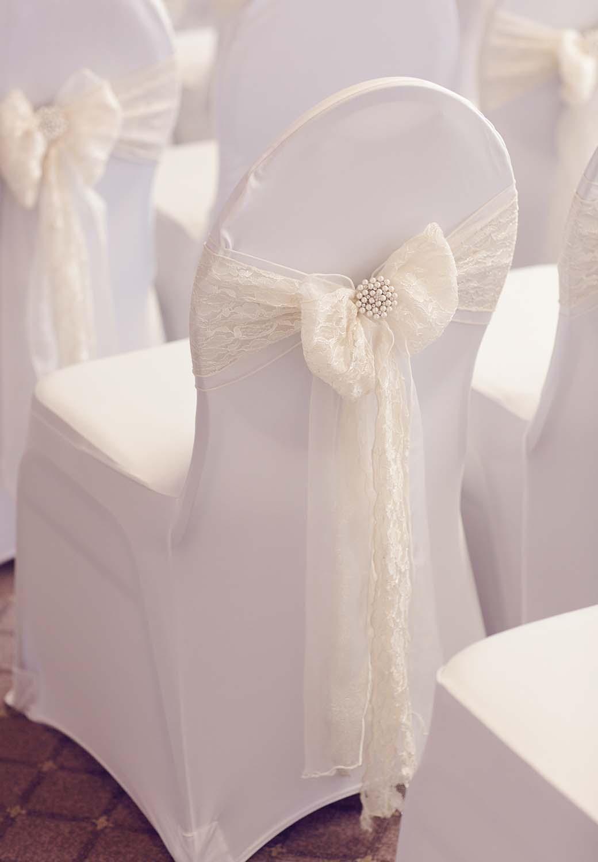 Brockencote Hall Hotel wedding prices wedding chair dressed up