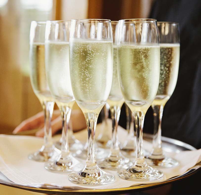 Room hire Worcester champagne flutes